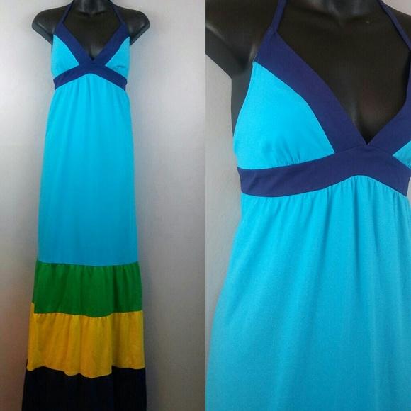 e2bd5d6a5ce NWT Roxy color block maxi halter dress sz.L. M 5af26c5861ca104128ec4c92